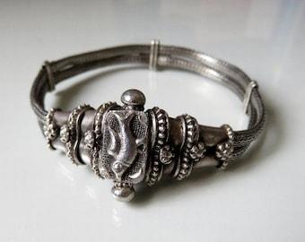 """Vintage Rajasthan Indian Solid Silver Bracelet 7"""" 26 grams"""
