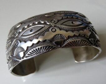Vintage Sterling Silver Navajo Cuff Bangle 64 grams