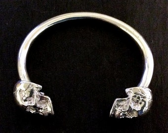 LAST ONE Heavy Sterling Silver Solid Anatomical Skull Torque Bangle 81 grams