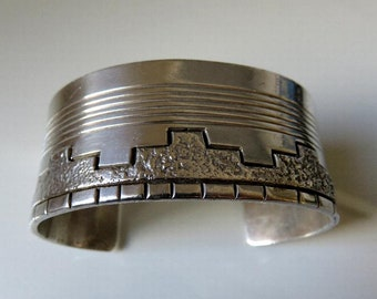 Vintage Navajo Sterling Silver Textured Stamped Bangle Cuff by the artisan J Nez 77.7 grams
