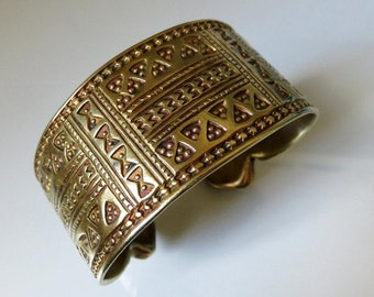 Vintage Mid Century Gold Plated Silver Egyptian Bedouin Tuareg Tribal Bangle Cuff 111.5 grams
