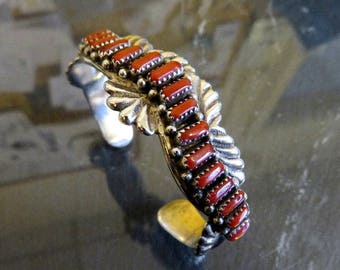 Vintage Heavy Sterling Silver Zuni Petit Point Coral Bangle Cuff by Artisan C.Iule