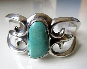 Vintage Sterling Silver Turquoise Cuff Bangle Navajo Tufa Sandcast 47.1 grams