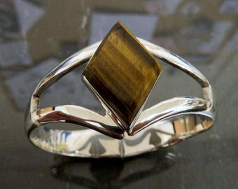 Vintage Sterling Silver Tigers Eye Bangle Cuff 56 grams Taxco