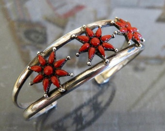 Vintage Sterling Silver Navajo Flower Coral Bangle Cuff