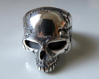 Large Solid Sterling Silver Skull Ring Anatomical Skull Keith Richards