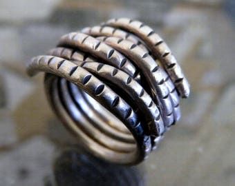 Sterling Silver Ethnic Tribal Heavy Wraparound Rope Ring