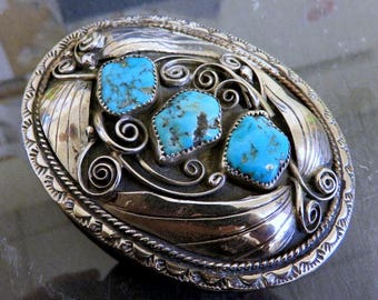 Vintage Large Sterling Silver Navajo Turquoise Concho Belt Buckle