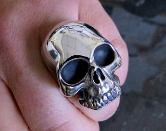 Sterling Silver Skull Ring 65g Keith Richards