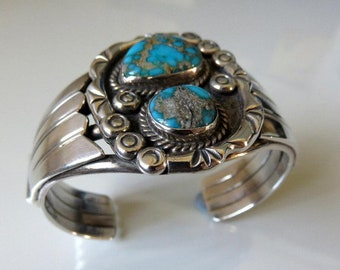 Vintage Sterling Silver Turquoise Cuff Bangle 69.5 grams Navajo