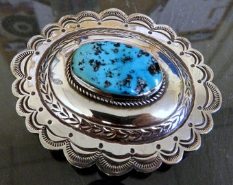 Vintage Large Sterling Silver Navajo Concho Turquoise Belt Buckle By Robert Johnson 50 grams