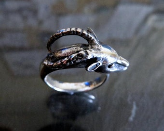 Solid Sterling Silver Rams Head Ring