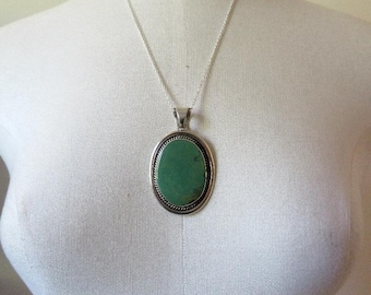 Vintage Huge Sterling Silver Navajo Turquoise Pendant by the artisan Chimney Butte