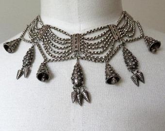 "Stunning Vintage Indian Silver Rajasthan Choker Collar 14-15"" Length 116.5 grams"