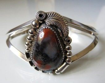 Vintage Sterling Silver Jasper Cabochon Bangle Signed by the Navajo artisan Justin Morris