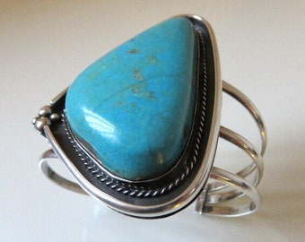 Vintage Sterling Silver Navajo Turquoise Bangle Cuff By Artisan Chris Tom