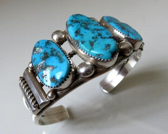Vintage Sterling Silver Turquoise Bangle Cuff signed by the Navajo artisan