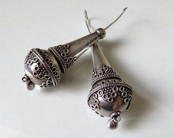 Vintage Indian Silver Drop Hook Earrings Rajasthan