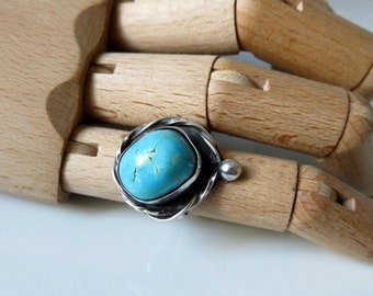 Vintage Navajo Sterling Silver Turquoise Ring Size L (6)