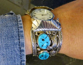 Vintage Huge Sterling Silver Navajo Turquoise Watch Bangle Cuff by Artisan Larry Martinez Chavez 102.5 grams