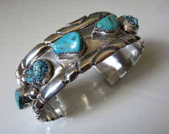 Vintage Sterling Silver Turquoise Navajo Cuff Bangle 57.6 grams