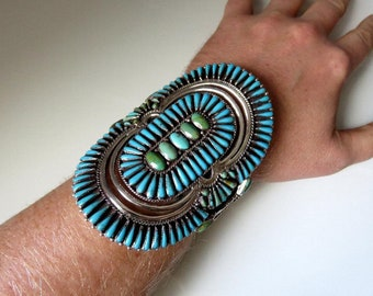 Vintage Huge Navajo Zuni Sterling Silver Petit Point Turquoise Bangle Cuff