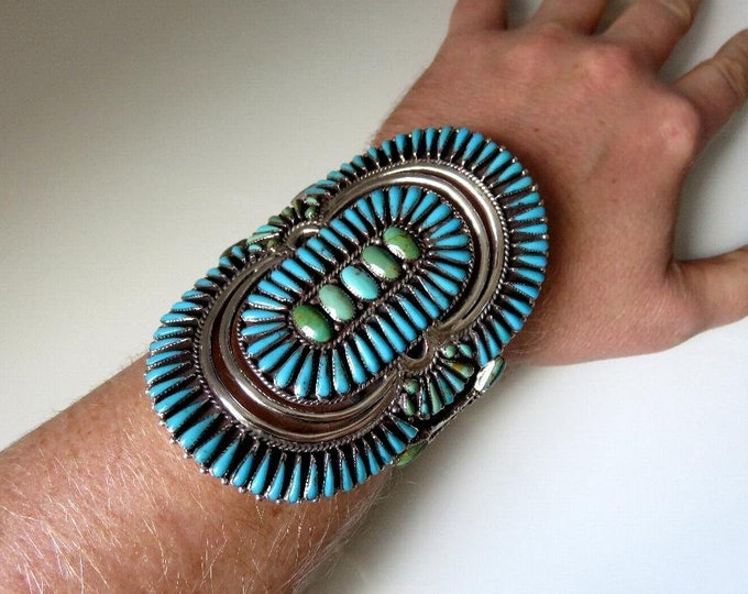 Featured listing image: Vintage Sterling Silver Petit Point Turquoise Bangle Cuff Huge Navajo Zuni