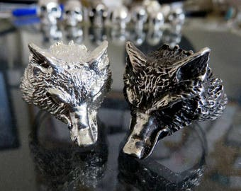Huge Sterling Silver Wolf Ring Amazing Detail Black & White Finishes