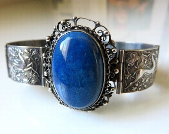 "Vintage Rajasthan Indian Silver Bracelet Set with Lapis Lazuli Cabochon Traditional Design Motifs 42.2 grams 6.5"" length"