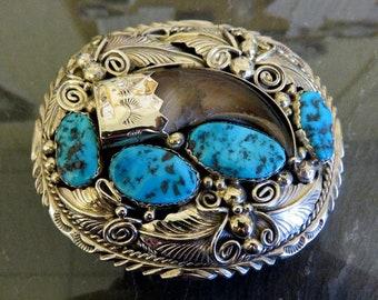 Vintage Sterling Silver Turquoise Belt Buckle by Navajo artisan M Thomas 98 grams