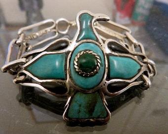 Handmade One Off Sterling Silver & Carved Turquoise Thunderbird Bracelet Navajo Inspired Design