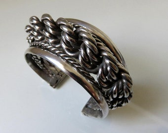 Vintage Bangle Cuff Egyptian Bedouin Tribal Plaited Silver Massive 123.5 grams