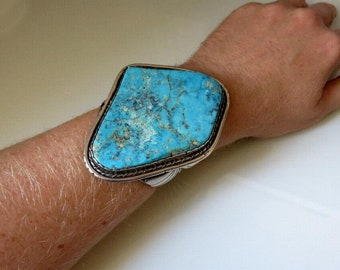 Vintage Large Old Pawn Navajo Sterling Silver Turquoise Bangle Cuff