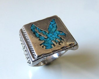 Vintage Heavy Navajo Sterling Silver Crushed Turquoise Eagle Signet Ring Size W (11.25)