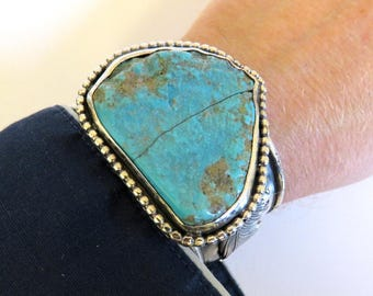 Vintage Native American Navajo Sterling Silver Applique Huge Turquoise Cuff Bangle