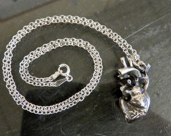 Sterling Silver Heavy Anatomical Heart Necklace Pendant in Black Heart & Oxidised Finishes