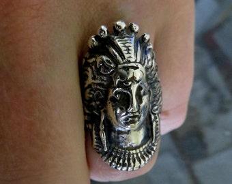 Solid Sterling Silver Saraswati Hindu Goddess Indian Ring