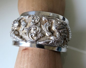 Vintage Burma Sterling Silver Cuff Bangle French Indochina Makara Repoussé Tribal Ethnic 60 grams 950 Silver