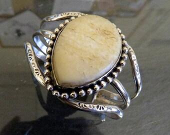 Vintage Sterling Silver Amber Bangle Cuff Heavy 61.2 grams Navajo