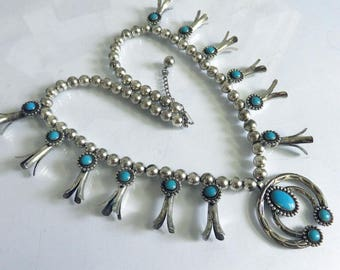 Vintage Sterling Silver Turquoise Squash Blossom Navajo Necklace Stamped Bell Trading Company 160 grams