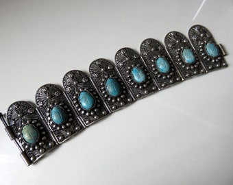 Vintage Large Egyptian Revival Silver Turquoise Scarab Filigree Bracelet