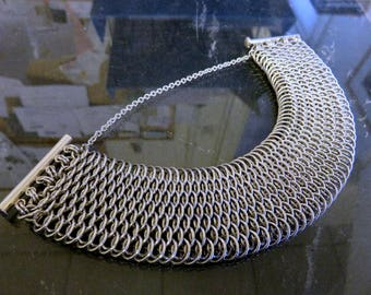 Vintage Sterling Silver Chain Mail Mesh Link Bracelet Heavyweight 127.5 grams