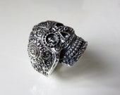 Heavy Sterling Silver Sugar Skull Ring Mexico Day Of The Dead