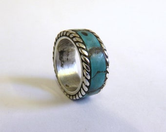 Vintage One Off Carved Crushed Turquoise Coral Ring Navajo Style Sterling Silver Size L (6)