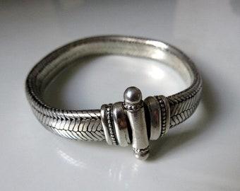 "Vintage Indian Mid Century Rajasthan Silver Snake Chain Bracelet - Heavy 65.5 grams - 8"" Length"