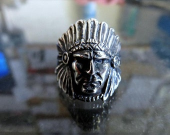 Solid Sterling Silver Native American Indian Chief's Head Ring