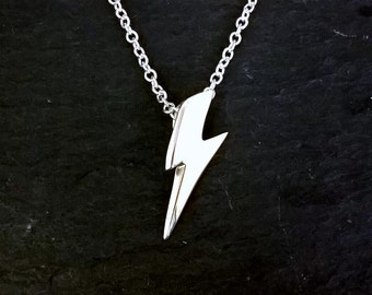 Solid Sterling Silver Glam Ziggy Mini Lightning Bolt Pendant