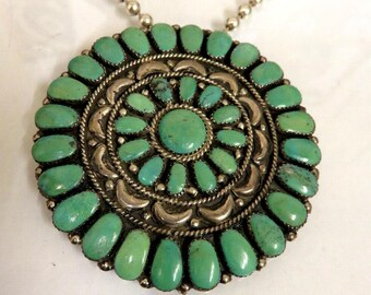 Vintage Turquoise Sterling Silver Pendant by Navajo Artisan Juliana Williams