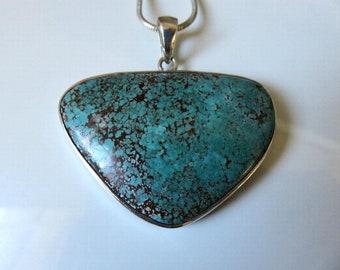 "Vintage Huge Sterling Silver Navajo Silver Turquoise Pendant 18"" length"
