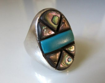 Vintage Sterling Silver Turquoise And Mother Of Pearl Inlay  Navajo Ring Size T  (USA 10)